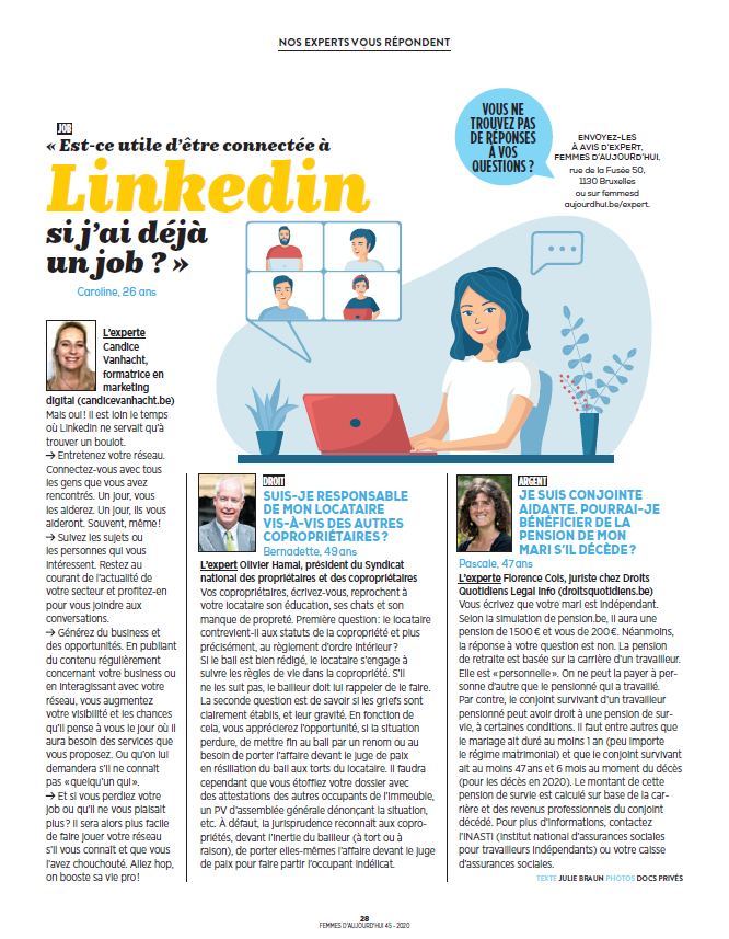 Article Femmes d'Aujourd'hui du 5/11/2020 - Est-ce utile d'être sur LinkedIn si j'ai déjà un job ?